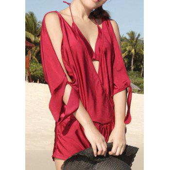 Sexy Halter Solid Color Pocket Design Hollow Out Three-Piece Women's Swimsuit - WINE RED M