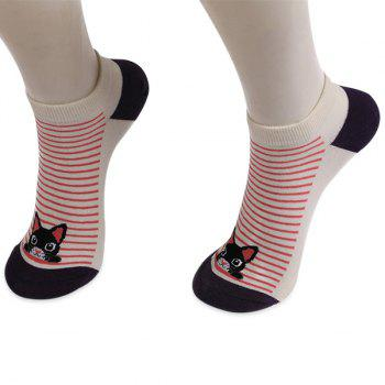 Knitting Striped Cartoon Cat Ankle Socks