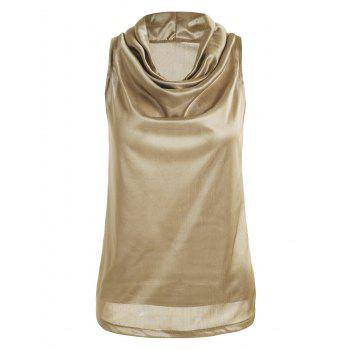 Cowl Neck See Thru Tank Top