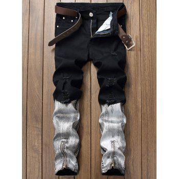 Zipper and Baking Painted Design Ripped Jeans