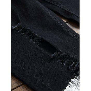 Zipper and Baking Painted Design Ripped Jeans - BLACK 40