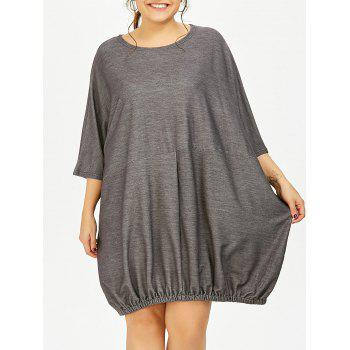 Plus Size Dolman Sleeve Baggy Linen T-Shirt Dress