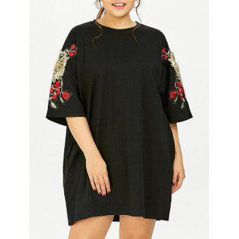Plus Size Floral Embroidered Tunic T-Shirt Dress With Pockets - BLACK BLACK