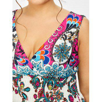 Print Maxi Plus Size Dress - WHITE 2XL