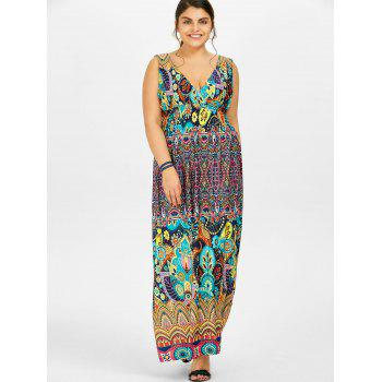Printed Maxi Plus Size Dress - multicolor multicolor