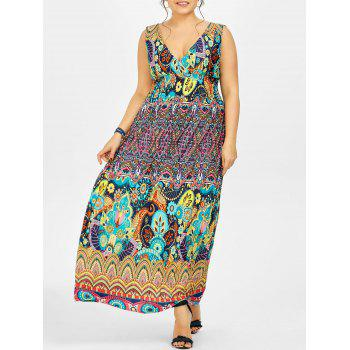 Printed Maxi Plus Size Dress - MULTI multicolor
