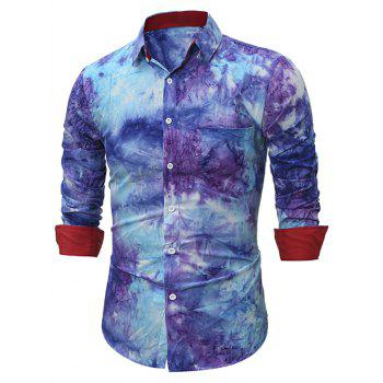 3D Tie Dye Printed Long Sleeve Shirt