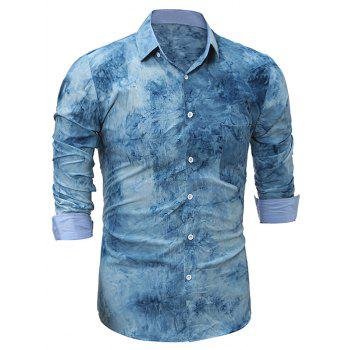 Long Sleeve 3D Tie Dye Print Shirt