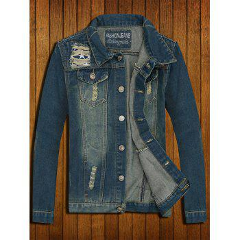 Flap Pocket Ripped Denim Jacket