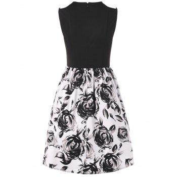 Floral Sleeveless Ball Gown Party Dress - WHITE/BLACK XL