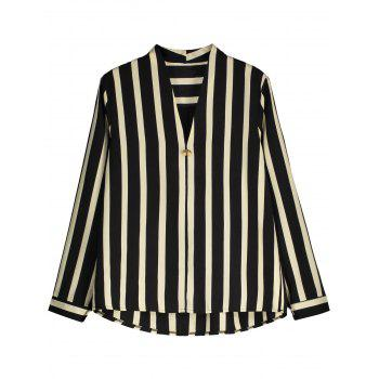 Striped V Neck High Low Shirt