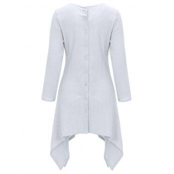 Asymétrique Bouton Back Up Robe Tunique - Blanc XL