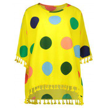 Tassel Polka Dot Plus Size Top