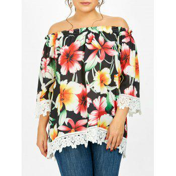 Plus Size Floral Lace Panel  Off The Shoulder Blouse