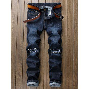 Studded Broken Hole Jeans