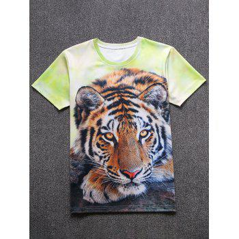 Tiger Print 3D Short Sleeve T-Shirt