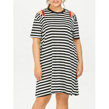 Casual Plus Size Cold Shoulder Striped T-Shirt Dress