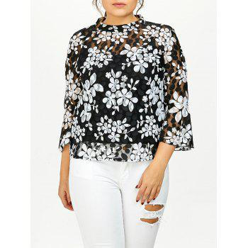 Plus Size Printed Sheer Lace Blouse With Cami Top