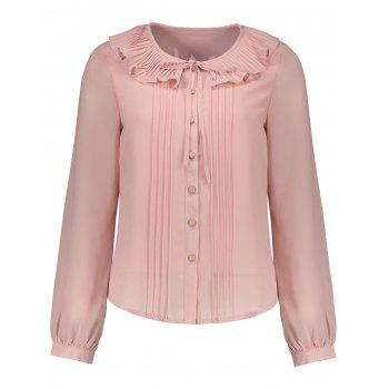 Flounce Button Up Pleated Blouse