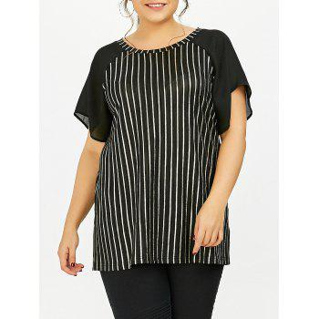 Plus Size Raglan Sleeve Striped T-Shirt