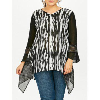Plus Size Flare Sleeve Asymmetric Blouse