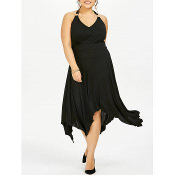 Plus Size Halter Asymmetric Dress