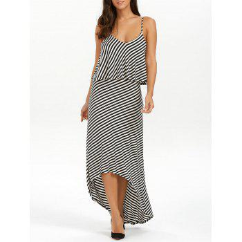 Double Layer High Low Striped Beach Slip Dress