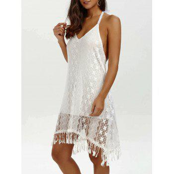 Halter Backless Summer Mini Lace Club Dress - WHITE WHITE