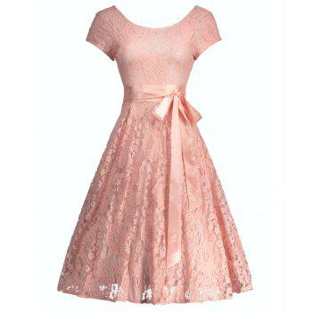 Floral Lace Self-Tie Vintage Party Dress
