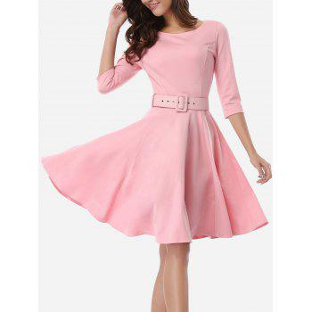 Belted Skater Going Out Swing Dress