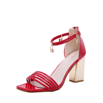 Strappy Zipper Chunky Heel Sandals