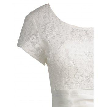 Robe de cocktail vintage en dentelle à laine - Blanc 2XL
