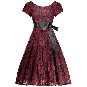 Floral Lace Self-Tie Vintage Knee Length Cocktail Dress