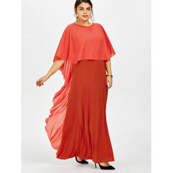 Flounce Backless Plus Size Cape Formal Evening Dress - RED 2XL