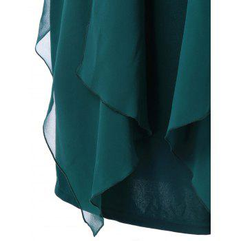 Plus Size Lace Trim Drape Front Dress - BLACKISH GREEN 4XL