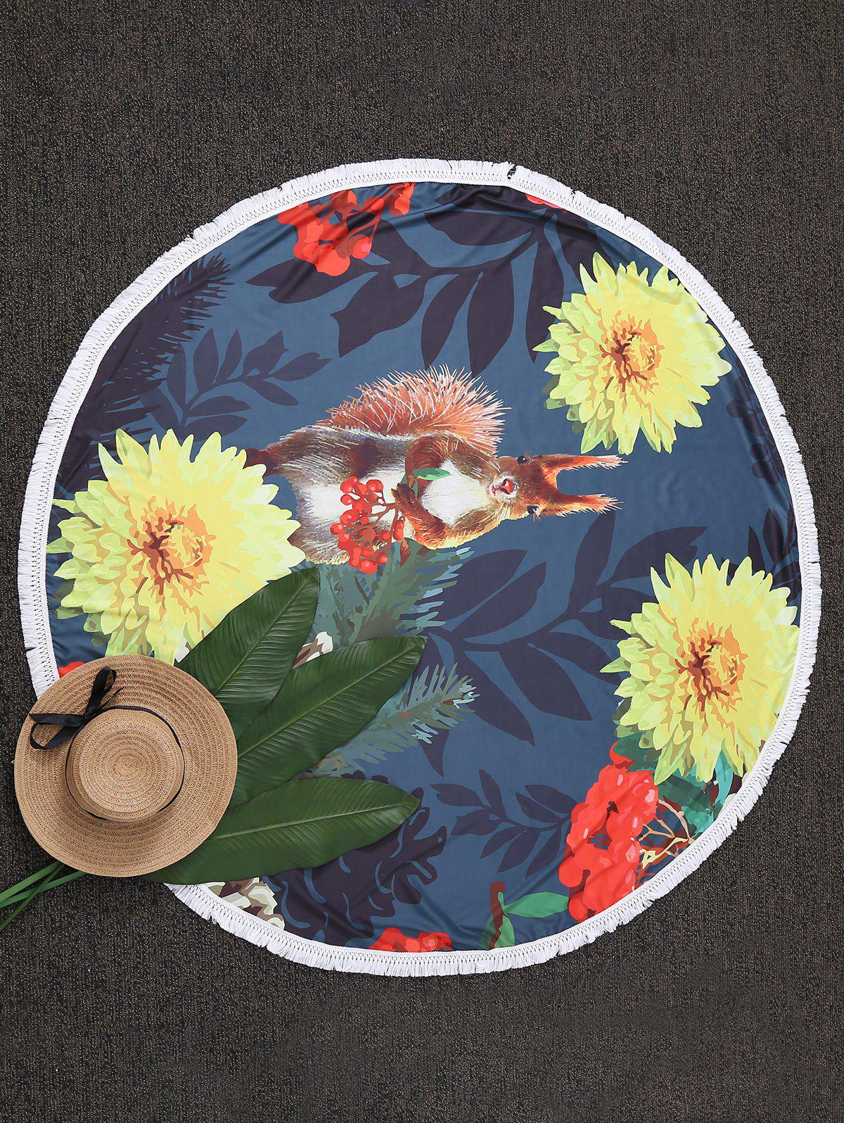 Tassel Floral Circle Beach Throw - COLORMIX ONE SIZE