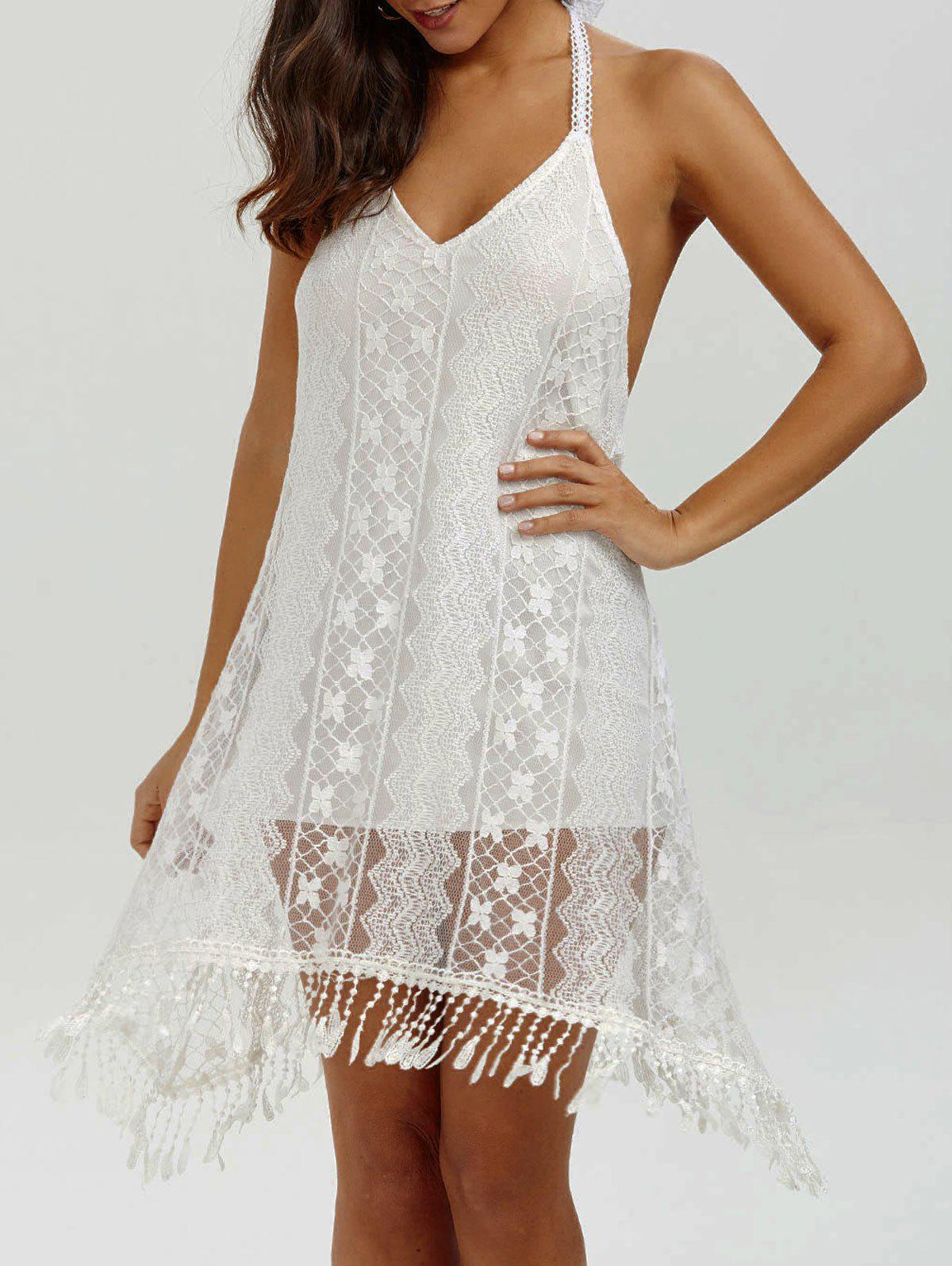 Halter Backless Summer Mini Lace Club Dress - WHITE M