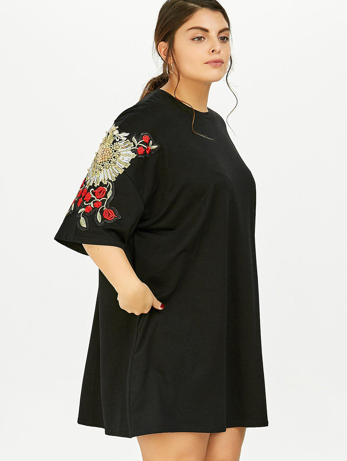 2018 plus size floral embroidered tunic t shirt dress with