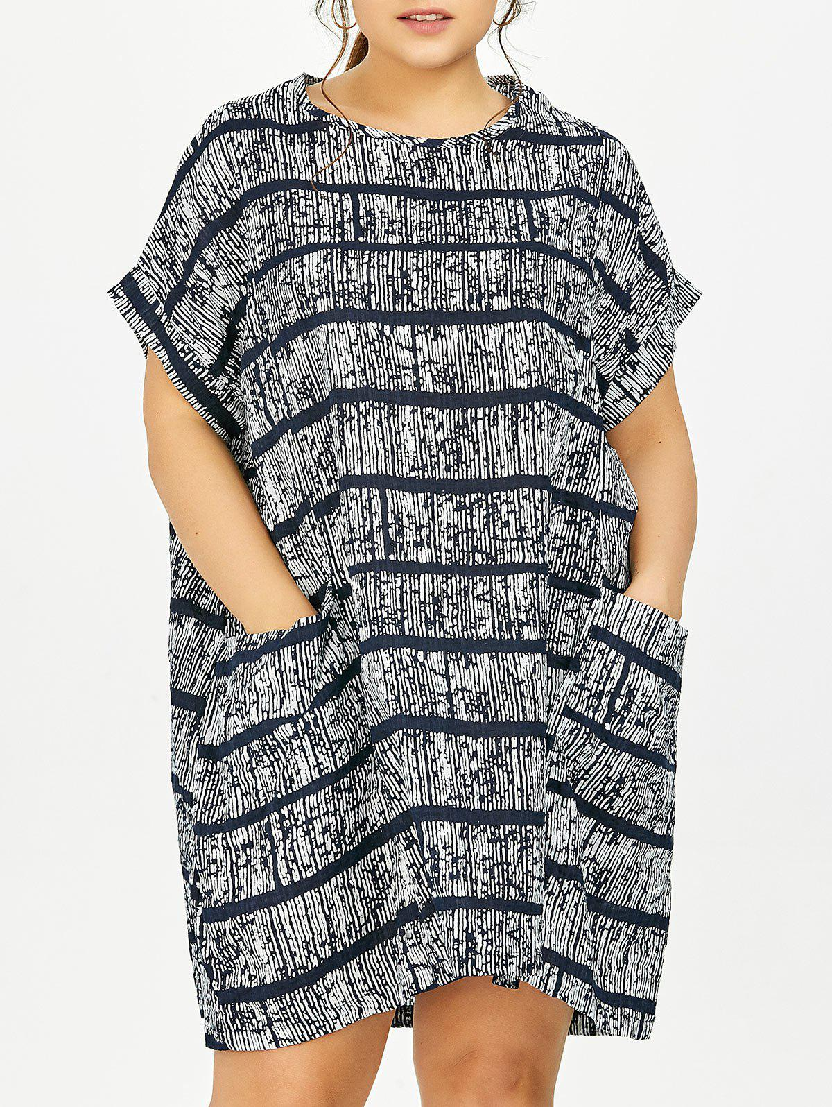 Plus Size Tie Dye Casual Stripe Dress - GRAY ONE SIZE