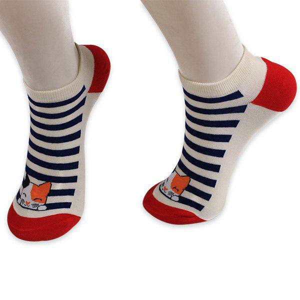 Knitting Striped Cartoon Cat Ankle Socks - RED