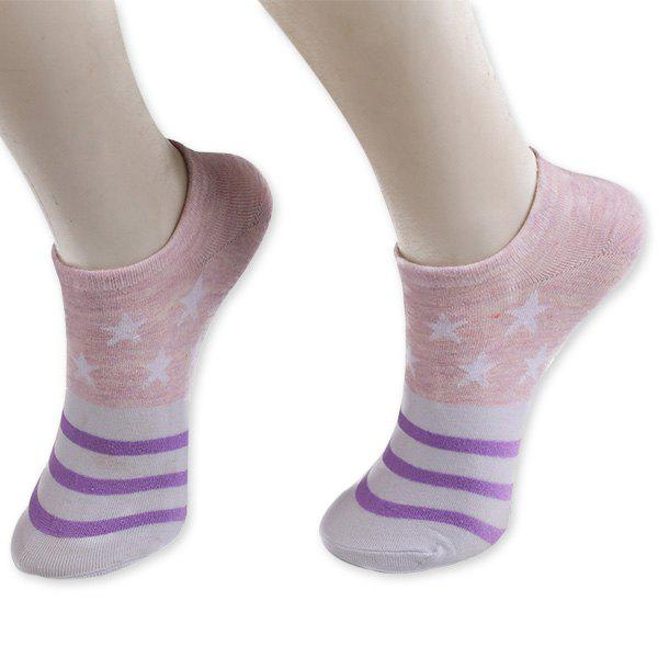 Knitting Striped Stars Ankle Socks - PURPLE