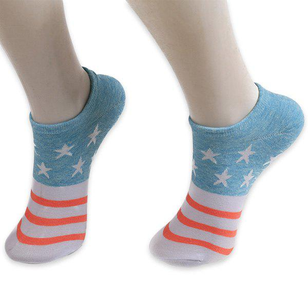 Knitting Striped Stars Ankle Socks - BLUE