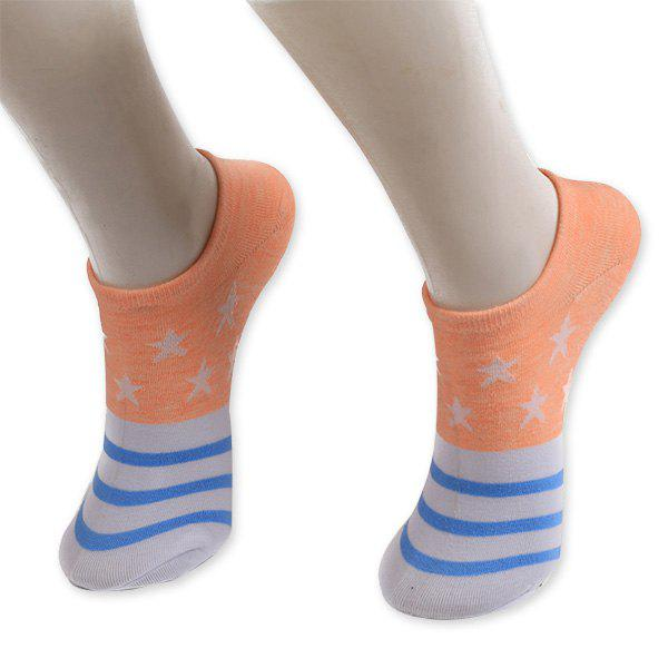 Knitting Striped Stars Ankle Socks - ORANGE YELLOW