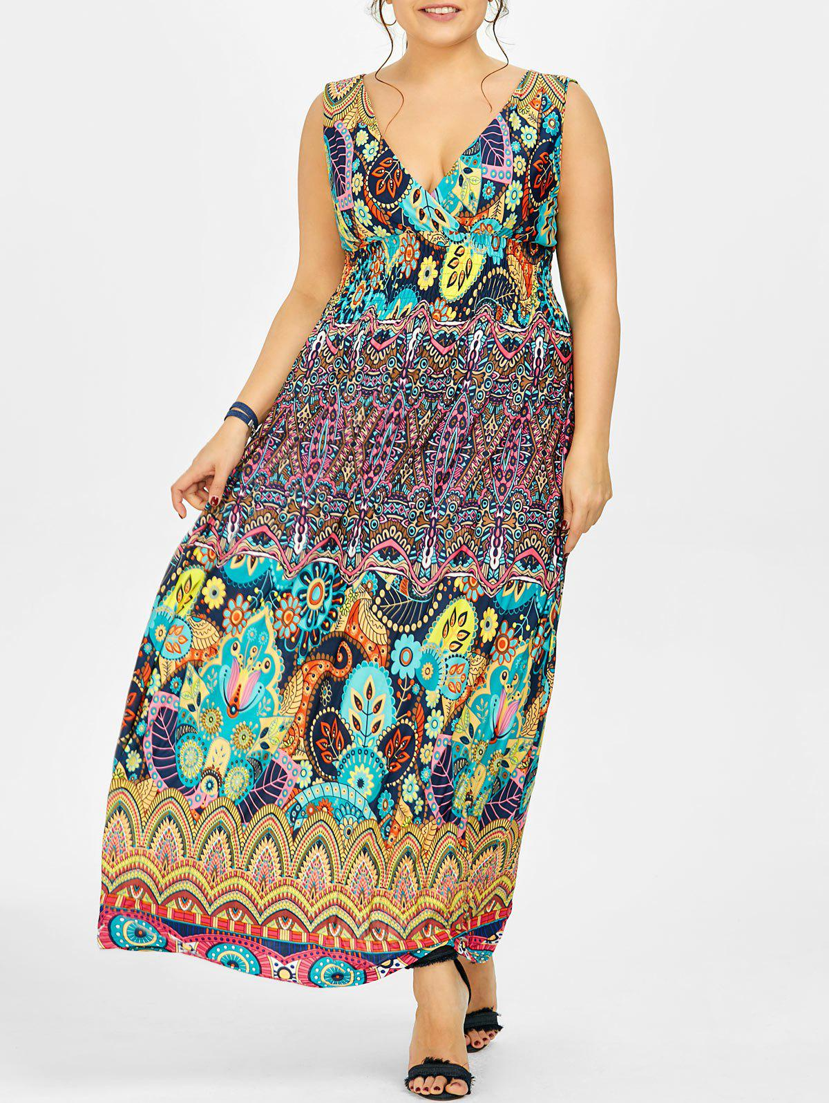 Printed Maxi Plus Size Dress - multicolor 2XL