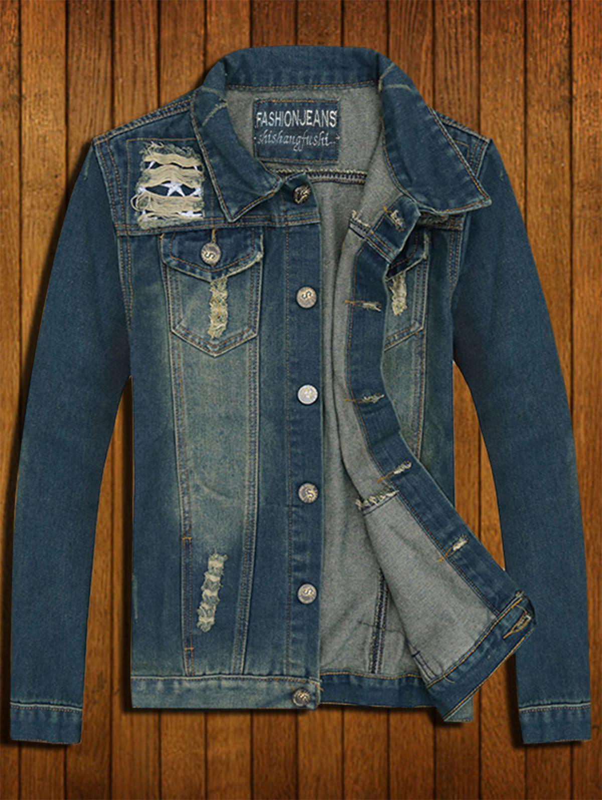 Button Up Ripped Denim Jacket - Denim Bleu XL
