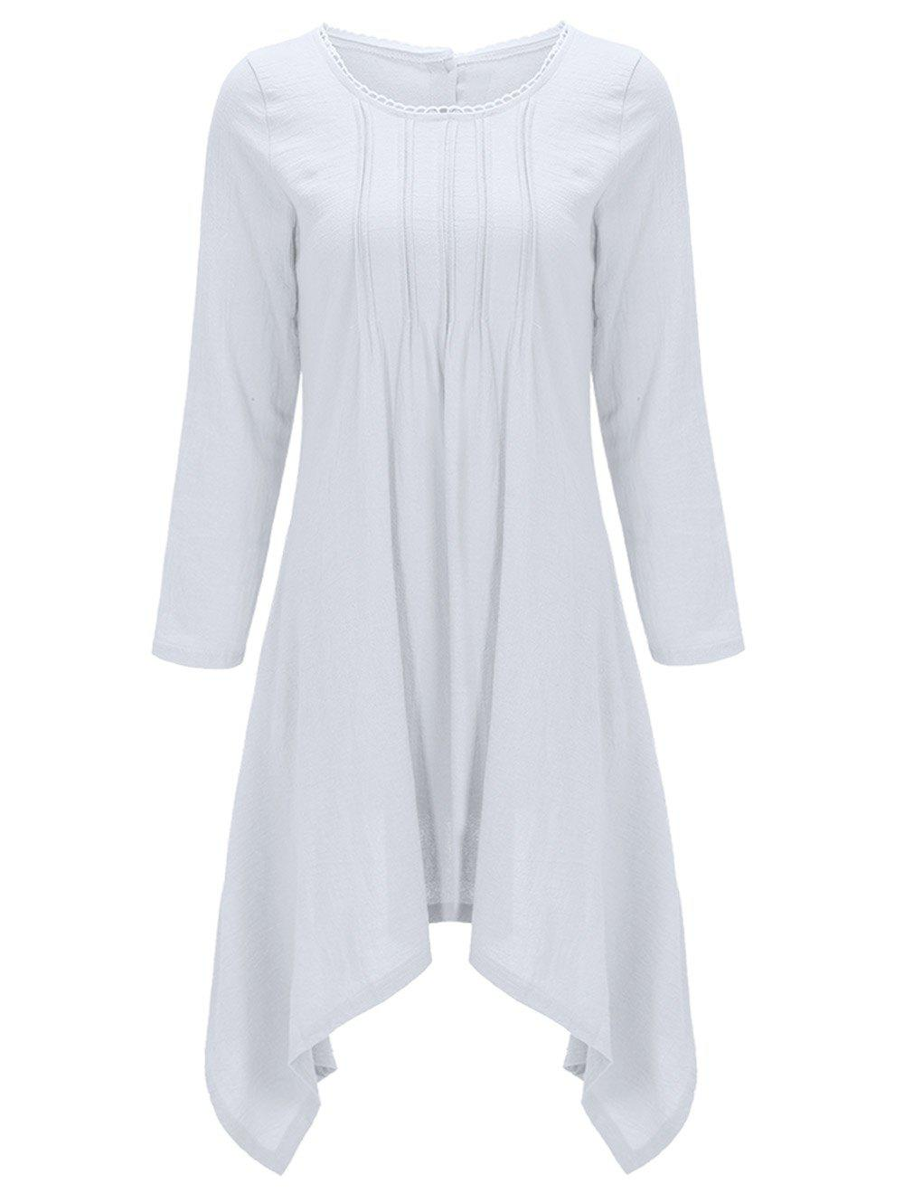 Asymétrique Bouton Back Up Robe Tunique - Blanc M