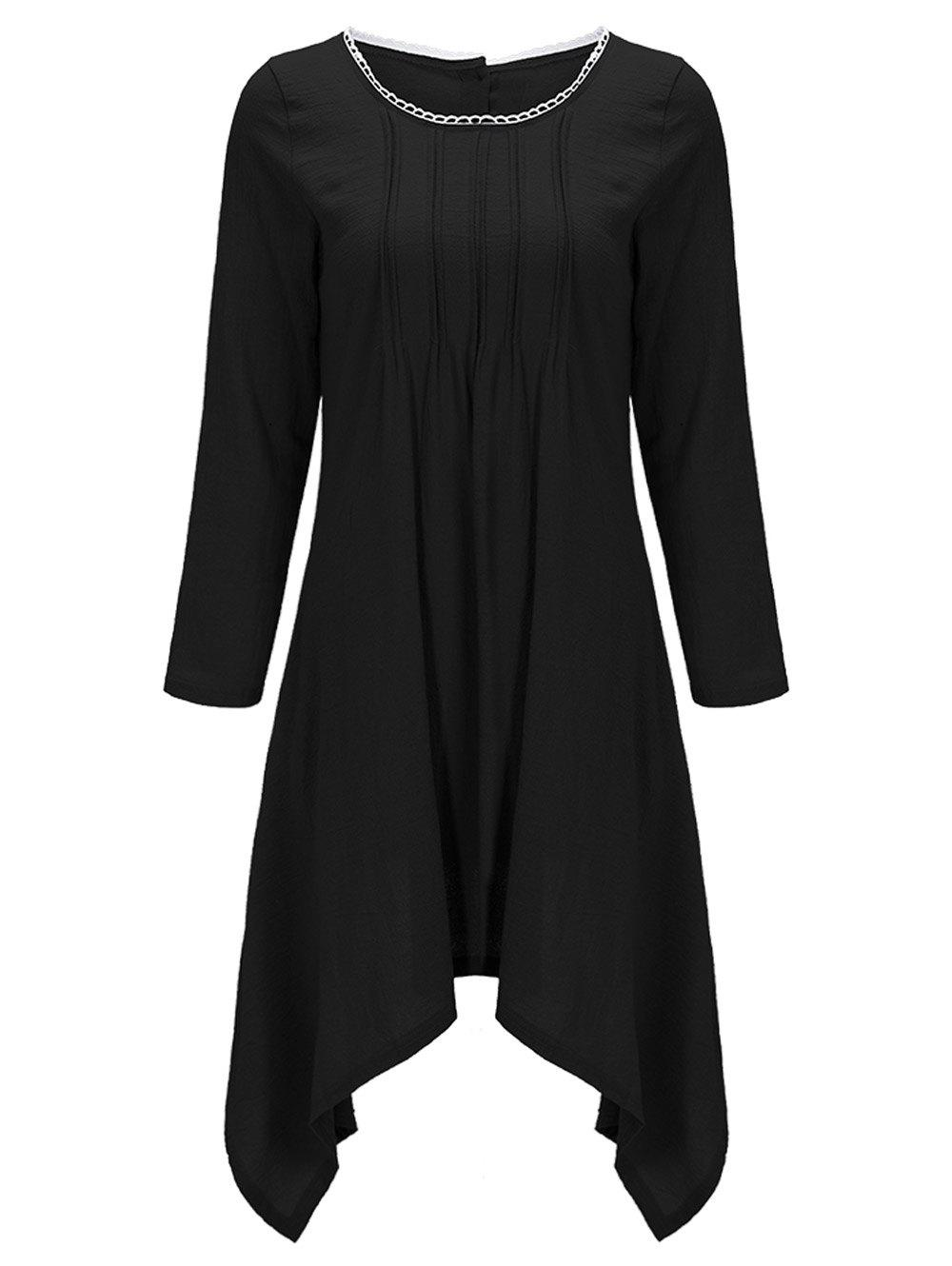 Asymmetrical Tunic Casual Long Sleeve Linen Dress - BLACK L
