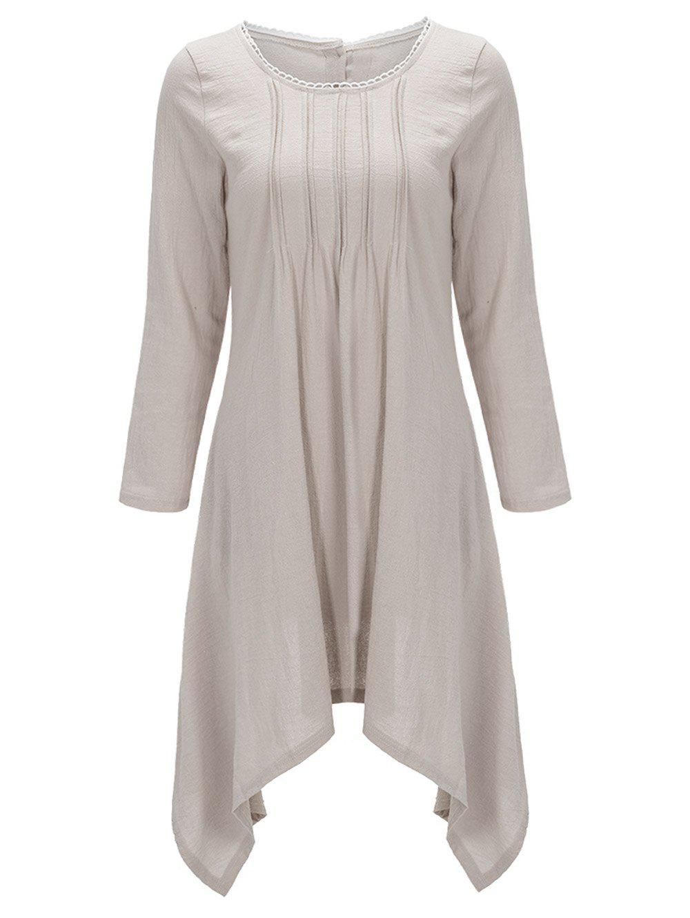 Asymétrique Bouton Back Up Robe Tunique - Café Clair XL