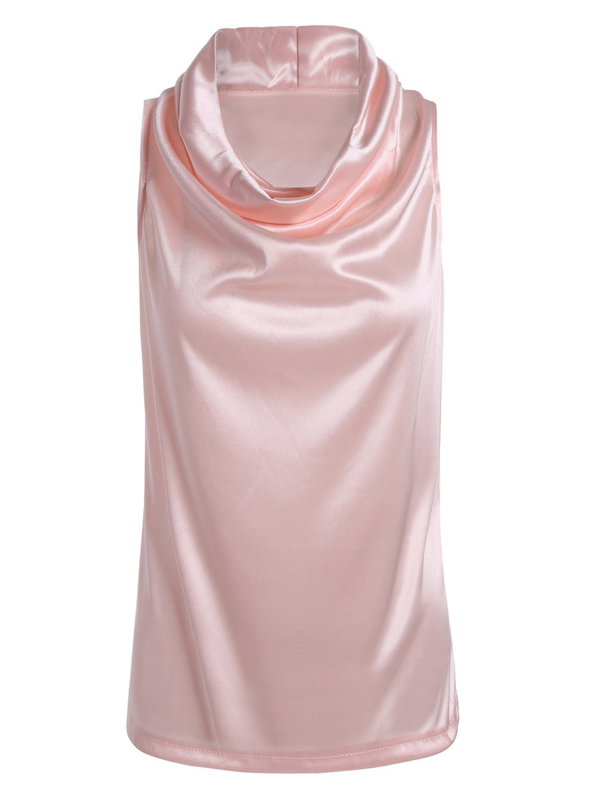 Cowl Neck Voir Thru Tank Top - Rose Pâle S
