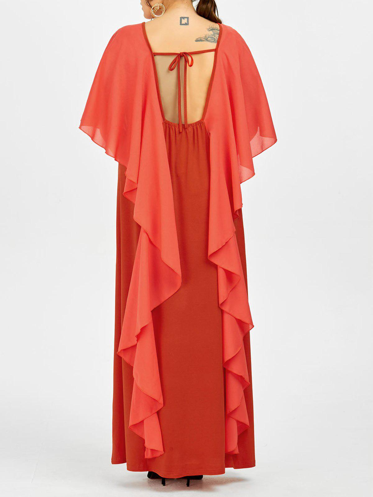 Flounce Backless Plus Size Cape Robe de soiree formelle - Rouge 4XL